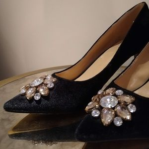 Dressy Black Heels with Sequin Flower